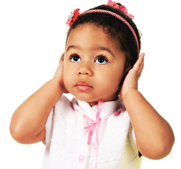 baby, toddler covering ears, ear infection, pink headband